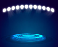 Rays of blue light on dark background Royalty Free Stock Photography