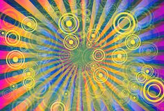 Rays and Circles. Colorful Rays and Circles Abstract Background Design Stock Photography