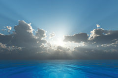 Rays in clouds Stock Photos