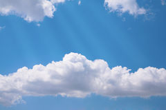 Rays on cloudy sky Stock Photography