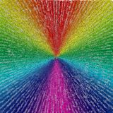 Rays. In colors of rainbow with text. Image composed entirely of text, words Stock Image