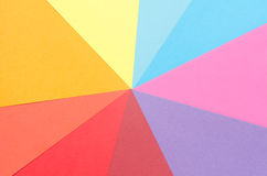 Rays of construction paper sheets. Colorful construction paper sheets arranged in a star shape Stock Images