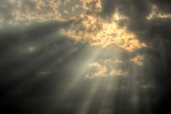 Rays of god. In the clouds Royalty Free Stock Photos