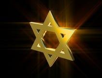 Among rays of gold Star of David Royalty Free Stock Image