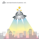 The Rays of Goodness from UFO. Artwork Vector Stock Image