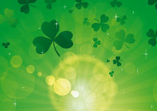 Rays green with shamrocks 2 Royalty Free Stock Images