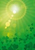 Rays green with shamrocks vert. Green flared sun with shamrocks Stock Photography