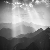 Rays of heaven light. Monochrome colors Royalty Free Stock Images