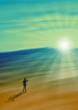 Rays of Hope. The man watching the rays of hope stock illustration