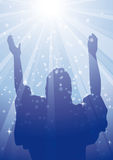 RAYS JESUS 2. Jesus with arms raised to heaven surrounded by heavenly light Royalty Free Stock Images