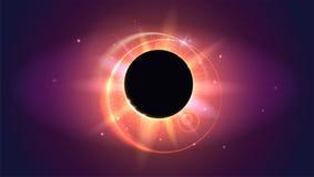 Rays and lens flare light horizontal backdrop. Glow light effect. Solar eclipse, astronomical phenomenon - full sun Stock Photos