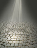 Rays of light. Falling on the old road Royalty Free Stock Image