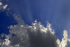 Rays of Light in Blue Sky Royalty Free Stock Photos
