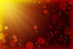 Rays of light, bokeh and flying lights. Festive abstract background. stock photo