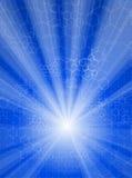 Rays light & chemical formulas. Blue background: rays of light and chemical formulas Royalty Free Stock Images