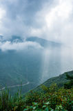 Rays of light on mountain and cloudy sky, Northwest of Vietnam Stock Photo