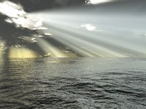 Rays of light and ocean. Render royalty free illustration