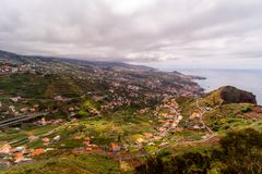 Rays of light over Funchal, Madeira, Portugal stock photography