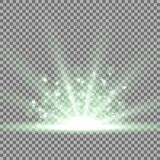 Rays of light with sparks, green color. Rays of light with sparks, light effect. star burst on transparent background, green color Stock Photo