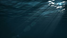 Rays of light under water. The rays of the sun pass through the surface of the water and illuminate the depths of the ocean stock video footage