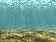 Rays of light underwater Royalty Free Stock Photography