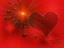Rays of love, red hearts and golden rays. Valentine hearts, rays of love, red hearts and golden rays Stock Photo