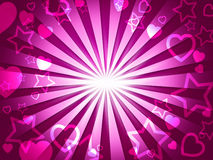 Rays Pink Indicates Valentines Day And Hearts Stock Images