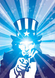Rays sam blue. Stylized illustration of uncle sam in rays of light Royalty Free Stock Photo