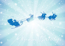 Rays santa sleigh greetings Royalty Free Stock Photos
