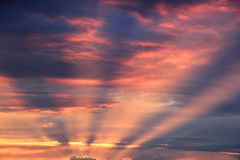 The rays of the setting sun. In dramatic sky Royalty Free Stock Photo