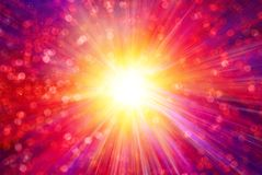Rays and Sparkling Bokeh Background Stock Image