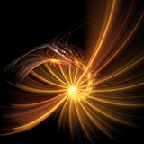 Rays spiral. Light rays spiral over black, fractal illustration Stock Photos