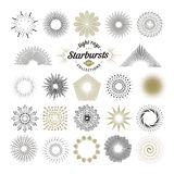 Rays and starburst design elements. Collection of sunburst vintage style elements and icons for label and stickers. Hand drawn sunshine shapes Royalty Free Stock Photo