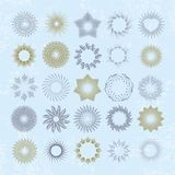 Rays and starburst design elements. Collection of sunburst vintage style elements and icons for label and stickers. Hand drawn sunshine shapes Stock Photography