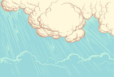 Rays of the sun breaking through the cloud cover. hand-drawn illustration. Vintage Retro engraving Stock Image