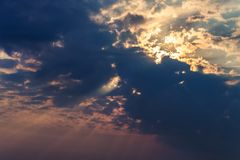 Rays of the sun dramatic clouds. Rays of the sun make their way through dramatic clouds Stock Photography