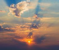 Rays of the sun dramatic clouds. Rays of the sun make their way through dramatic clouds Royalty Free Stock Photography