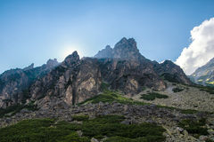 Rays of sun in high mountains panorama of Tatras Slovakia Stock Images