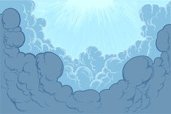 The rays of the sun illuminate the clouds. hand-painted engraving Stock Image