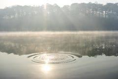 Rays and the sun on the lake. TuyenLam Lake near by Dalat Stock Photo