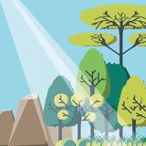 Rays of sun light entering in a green forest landscape. Vector illustration graphic design Stock Photography