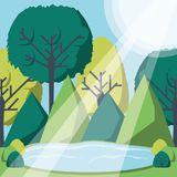 Rays of sun light entering in a green forest landscape. Vector illustration graphic design Royalty Free Stock Photo