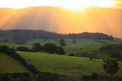 Golden sunrays over dark-green hills landscape Royalty Free Stock Photos