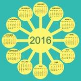 Rays sun simple 2016 year vector calendar Stock Images