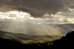 Rays of sun on the valley Royalty Free Stock Photography