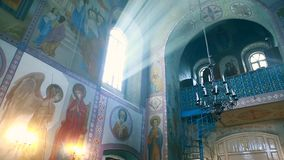 Rays of the sun in the window of the Orthodox Church Kyiv. Ukraine stock video
