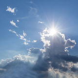 Rays of sunbeam on blue sky Royalty Free Stock Photography