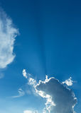 Rays of sunbeam on blue sky Stock Photography