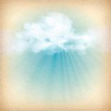 Sunlight rays through clouds vector background Stock Photo