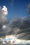 Rays of Sunshine. Beaming through the Clouds Royalty Free Stock Photos